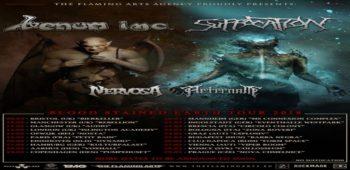 imagen de VENOM INC de gira por europa junto a SUFFOCATION.