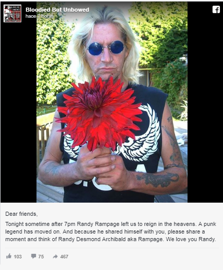 Muere Randy Rampage, bajista original de DOA y vocalista de Annihilator