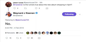 imagen de Maynard dice que el nuevo disco de Tool NO estará listo en Abril